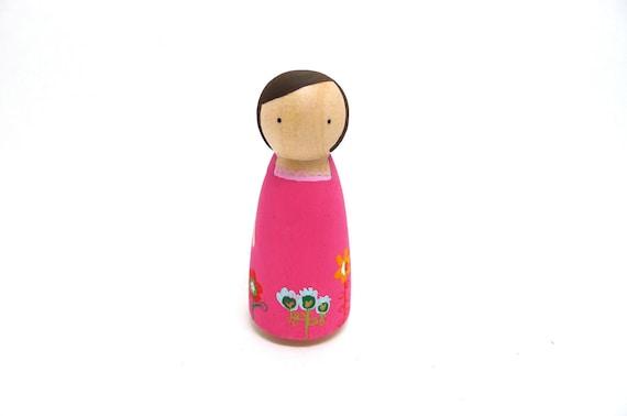 Wooden Peg Doll Pink Floral Dress Girl