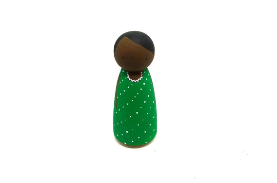 Wooden Peg Doll African American Girl in Green Dress