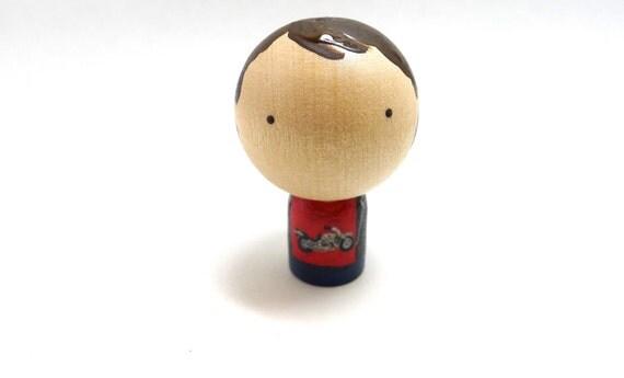 Wooden Peg Doll Motorcycle Guy, Kokeshi