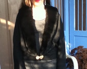Vintage Black Wool Sweater with Black Faux Fur Collar Lapel and an Awesome Rhinestone Hook Closure