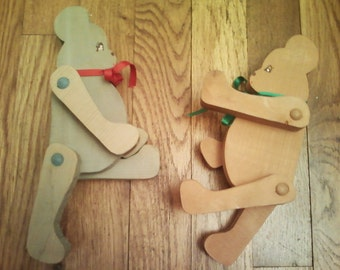 Vintage Handmade Jointed Wooden Bears