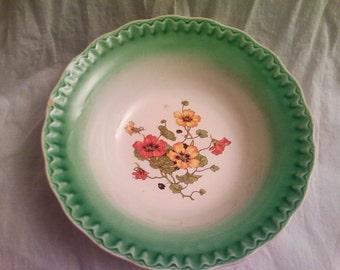Antique Serving Bowl, Green Rim with Floral Poppy Motif