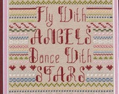Angels Dance With Stars - sampler hearts swirls - pdf Cross Stitch Pattern by Lady Robins Nest