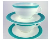 PYREX Milk Glass- Vintage Turquoise Teacup and Saucers - 2 sets