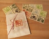 2 SETS-Vintage Style Postage stamp stickers