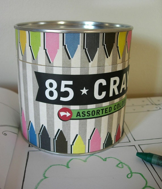 Vintage style Canister of 85 crayons