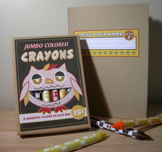 Vintage style jumbo crayons-Owl and Primer