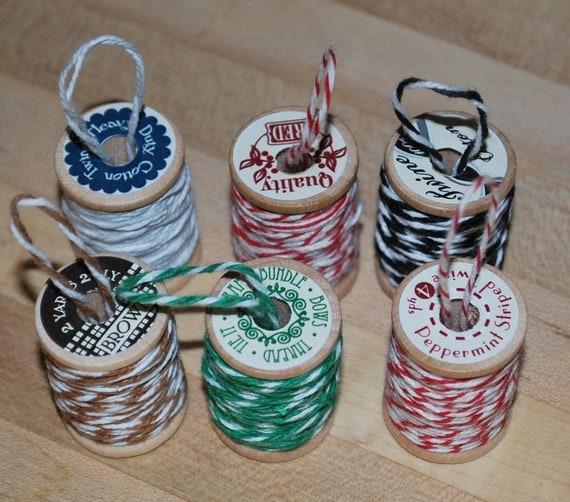 6 Wooden Spool-Christmas Ornament Set