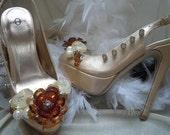 High Heel Platform Spiked Women Shoes Nude size 7 SALE .. A SpikesByG Design...