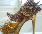 High Heel Platform Spiked Women Shoes Gold size 8...A SpikesByG  Design