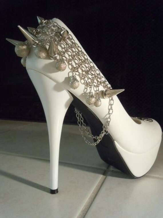 high heel platform spiked shoes white size by spikesbyg
