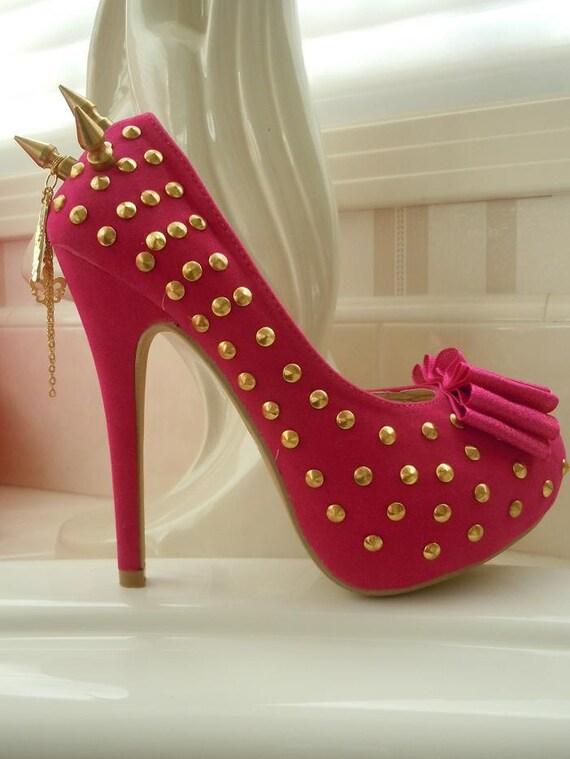 High Heel Platform Spiked Women Shoes Hot Pink/Gold size 7 1/2...A SpikesByG Design