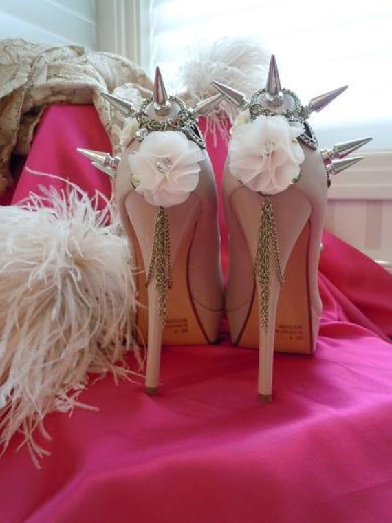High Heel Platform Spiked Women Shoes Pink Blush/Nude  size 8  ...A SpikesByG Design...S A L E
