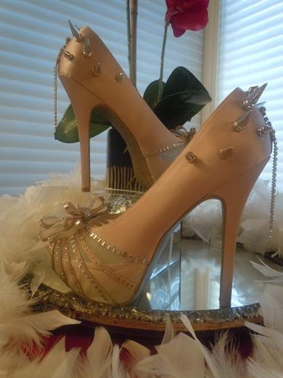 High Heel Platform Spiked Women Shoes Nude/Blush size 10...A SpikesByG Design..S A L E