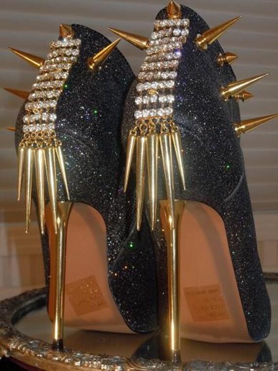 High Heel Platform Spiked Women Booties Black Glitter size 7...A SpikesByG Design
