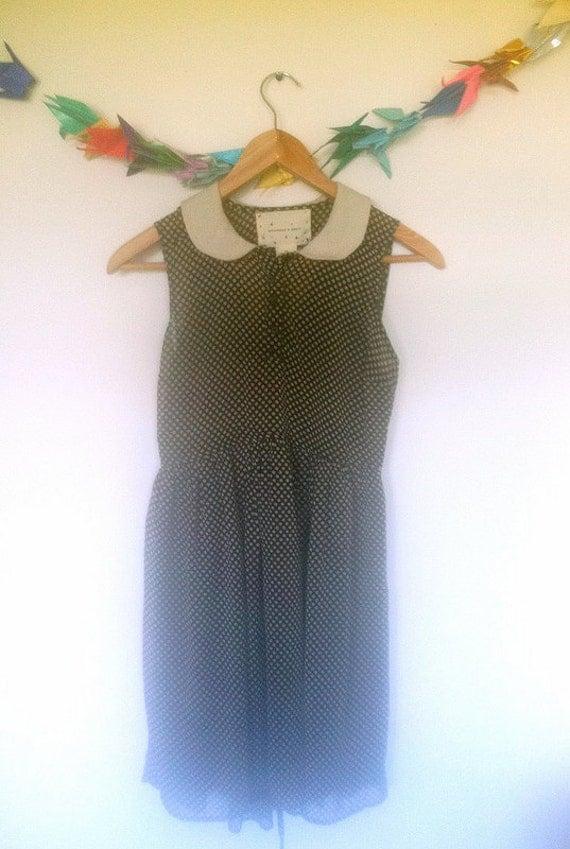adorable sleeveless dotted peter pan collar dress