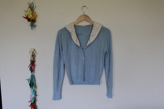 darling baby blue cardigan with sequin peter pan collar