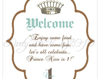 """PRINTABLE (8""""x 10"""" Welcome Sign) - """"Royaly Sweet Prince"""" Collection - Vintage, Old World Design"""