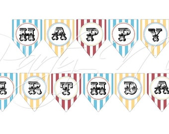 "PRINTABLE (""Happy Birthday"" BANNER) - ""Old Time"" Carnival Collection- Vintage Design"
