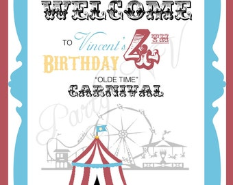 "PRINTABLE (WELCOME SIGN) - ""Old Time"" Carnival Collection- Vintage Design"