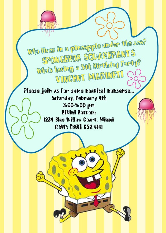 PRINTABLE 5x7 Invite  SpongeBob Best Day Ever Collection by