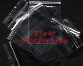 "100 - Clear Zip Closure Bags - 3""x4"" - 2 mil  Polypropylene BOPP - cello"