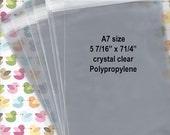 "A7 size  - Crystal Clear Bags - 100 pcs  5-7/16"" x 7-1/4"" - Polypropylene Cello - 1.2 mil Resealable"