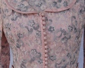 BEAUTIFUL 1960s Vintage HAUTE COUTURE Pink and Grey Lace Wiggle Dress with Matching Jacket
