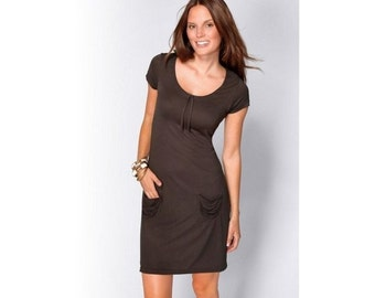 brown dress. viscose. with pockets