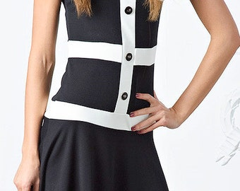 very unusual beautiful summer dress with white stripes