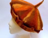 Wool felt hat beret style handmade OOAK Rusty Pumpkin