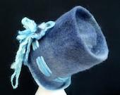 Wool Felt Hat Blue OOAK