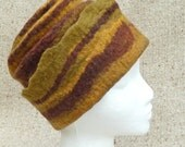 Reserved for Kasia - please do not buy: Wool Felt Hat Brown and Stripes OOAK