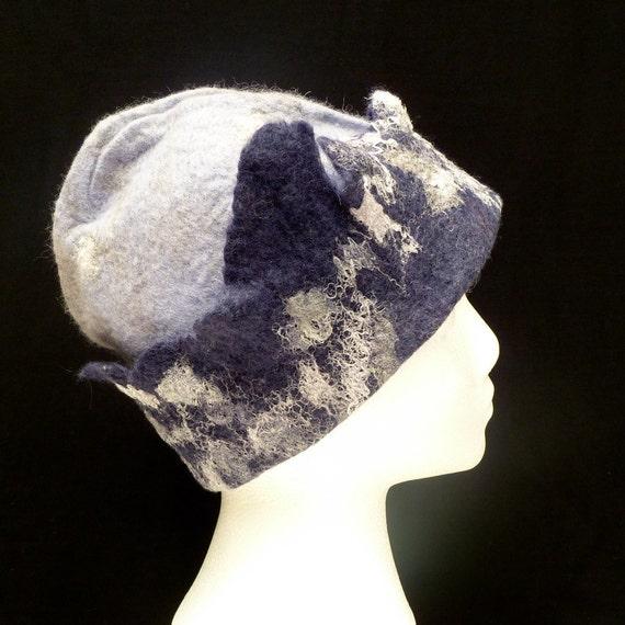 Reserved for Kasia - please do not buy: Wool felt hat Cool Purple OOAK