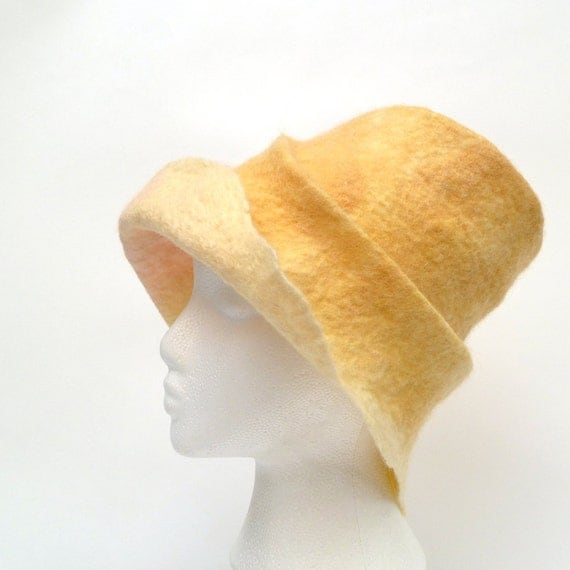 Wool Felt Hat Banana Ice Cream OOAK
