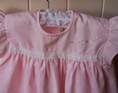 vintage embroidered dress, twigs forget me not, size 0/12months/1T