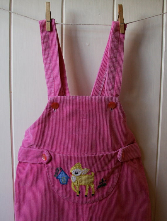 SALE 5 DOLLARS // bambi loves to play pink corduroy vintage toddler overall/coverall/jumper size 1T/2T