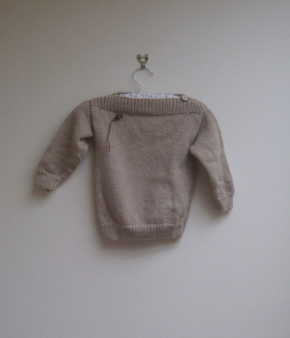 vintage wool sweater / jumper, brown mouse knit, size 2T - 3T