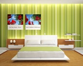 Tulips 2 - Red Flowers in Helsinki Trees Sky Clouds Azure Blue Nature Green - 5x7 (19 x 13 cm) Photo Print - Fine Art Photography