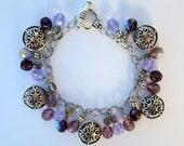 Beautiful Silver Toned Filigree Purple Amethyst Glass Bead Chunky Charm Bracelet