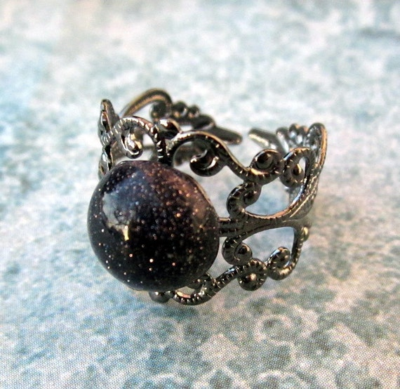 Victorian Style Antiqued Silver Adjustable Filigree Ring with Blue Goldstone Cabochon