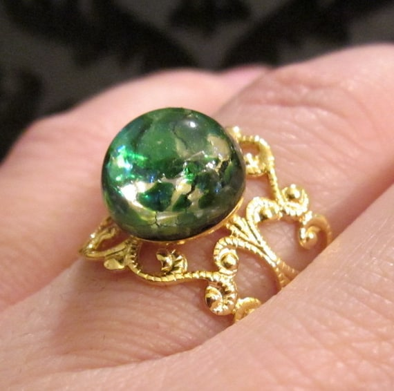 Victorian Style Gold Adjustable Filigree Ring with Green Opal Glass Cabochon
