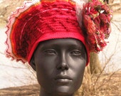 Bright Red & Soft Pinks Crochet Hat with a Humungously Beautiful Organza Flower Pin...