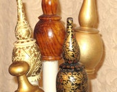 Wooden Finials/Dowels- Hand Crafted-Hand Painted-Vintage-Pair
