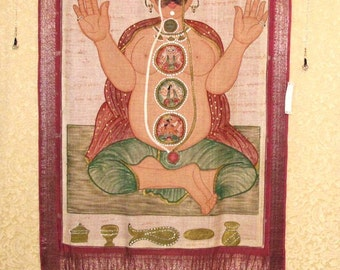 Tantric Sadhu Painting, Wall Tapestry, Wall Hanging by the Old Silk Route