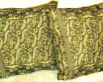 """Silk Brocade Pillows, Cushions, from Antique Sari Pallav- Olive Green Set of 3-11""""x10""""inches"""