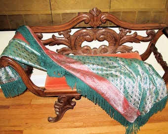Silk Brocade Throw from Vintage  Recycled Silk Benares Brocade Sari by the Old Silk Route