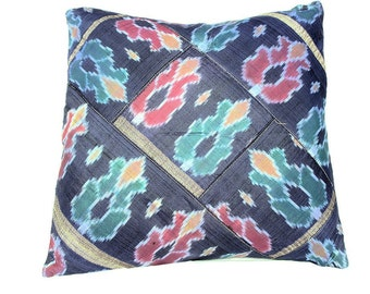 """Silk Ikat Pillow Cover by the Old Silk Route-16""""inch square"""