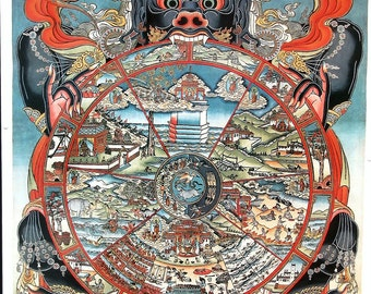 Wheel of Life Art Print of Tibetan Buddhist Thangka Painting, Vintage, 22 x 30 inches