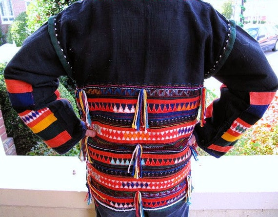 Vintage Happy Coat,Jacket from the Thai Hill Tribes